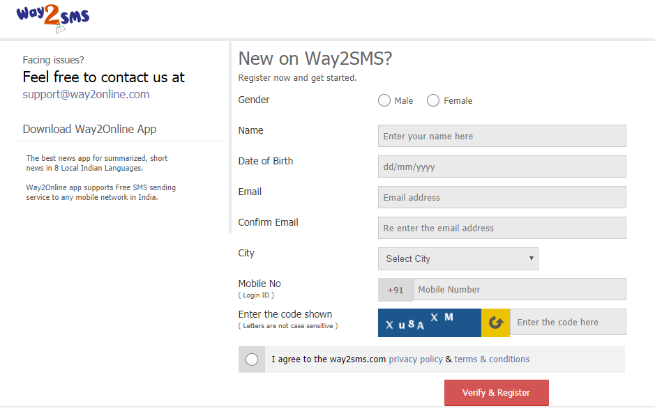 Way2SMS Account Registration