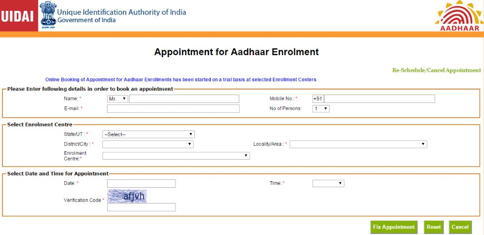 Steps to book Online Appointment for Aadhaar Enrolment