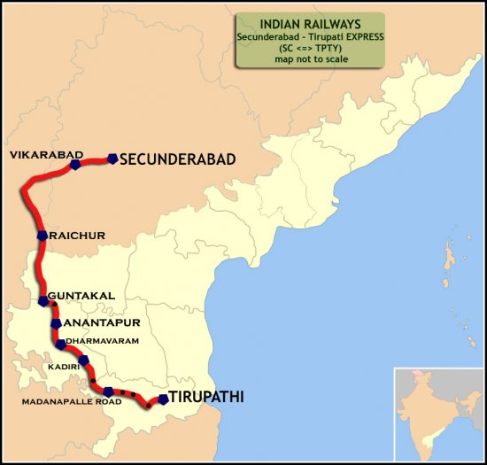 (Secunderabad_-_Tirupathi)_Express_Route_map