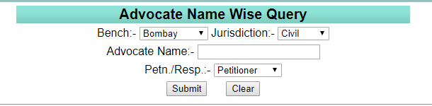 Bombay HC Case Status by Advocate Name Wise at bombayhighcourt.nic.in website