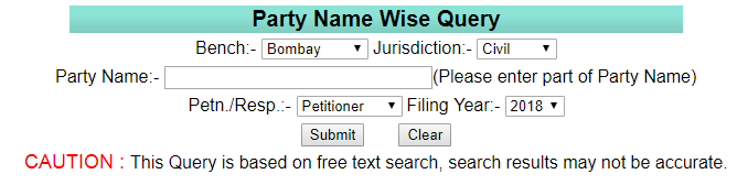Bombay HC Case Status by Party Name Wise at bombayhighcourt.nic.in website