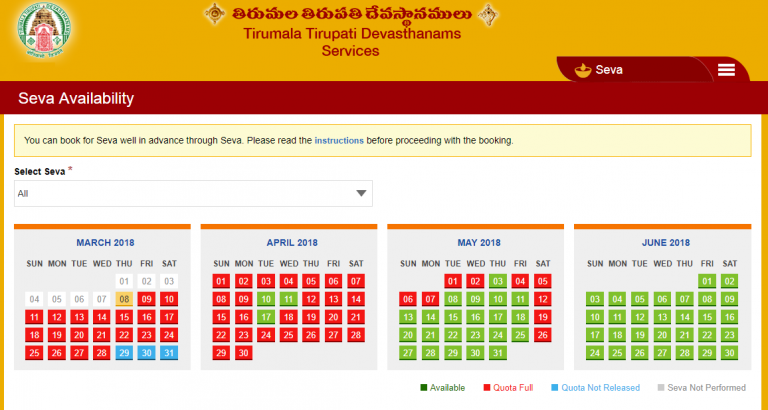Process to check the availability of TTD Seva Tickets