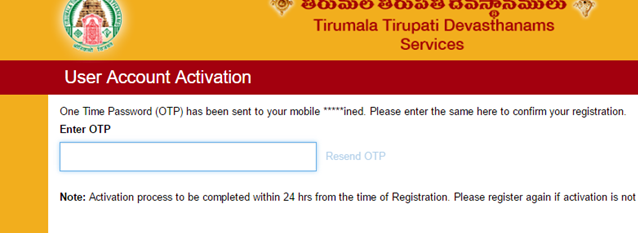 , TTD Online Account Activation with Mobile Number OTP