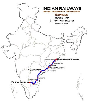 (Bhubaneswar_-_Yesvantpur)_Express_Route_map