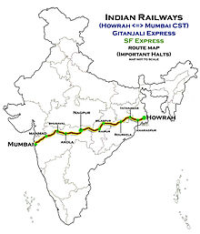 (Howrah_-_Mumbai)_Express_and_Gitanjali_Express_Route_map