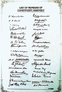 No. of Signatures on the Indian Constitution