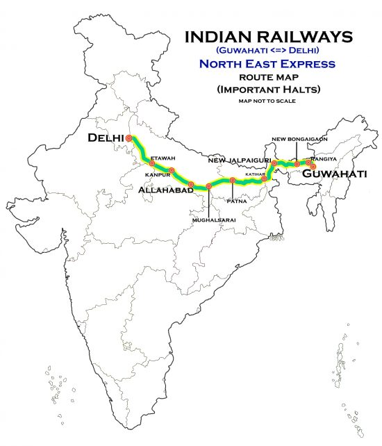 North_East_Express_(Guwahati_-_Delhi)_Express_Route_map