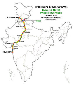 Paschim_Express_(Amritsar_-_Mumbai)_Route_map