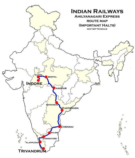 Ahilyanagari_Express-INDB-TVC Route map