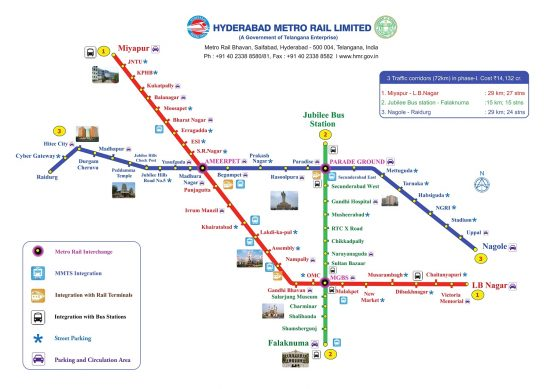 Hyderabad Metro Rail Route Map