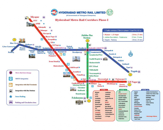 Hyderabad metro route map