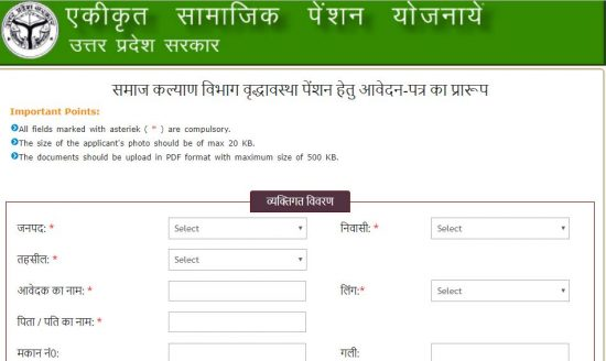 old age pension form
