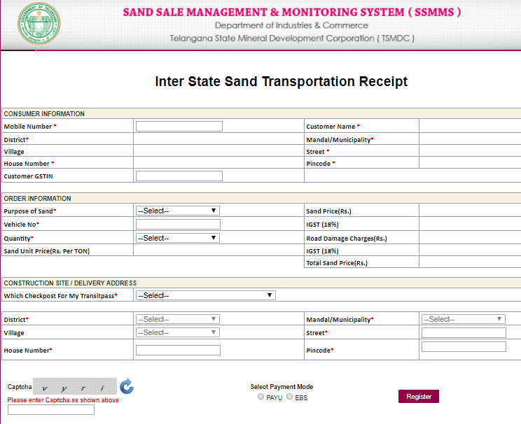sand telangana inter state transport receipt online application form