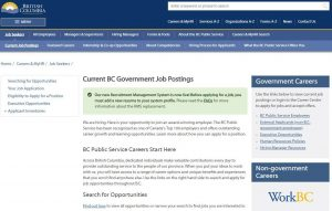 BC Government jobs website