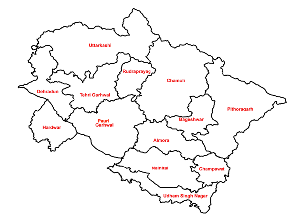 List of Uttarakhand Districts Along with their District Maps