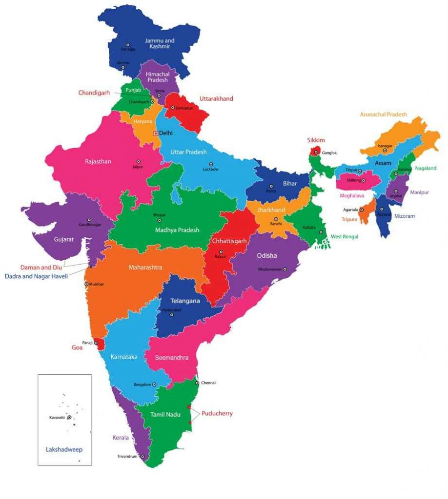 states and capitals of india- india map