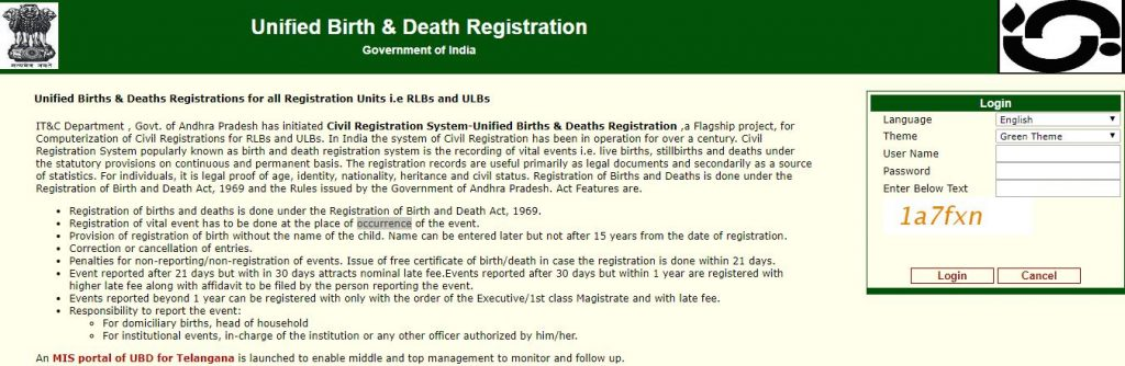 Unified Birth and Death Registration Telangana
